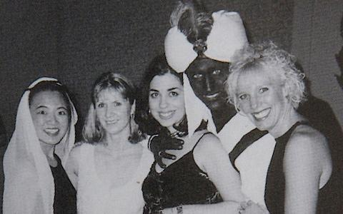The first photo to emerge showed Mr Trudeau, then a 29-year-old teacher, wearing brownface for a party at his private school - Credit: The View Yearbook/Reuters