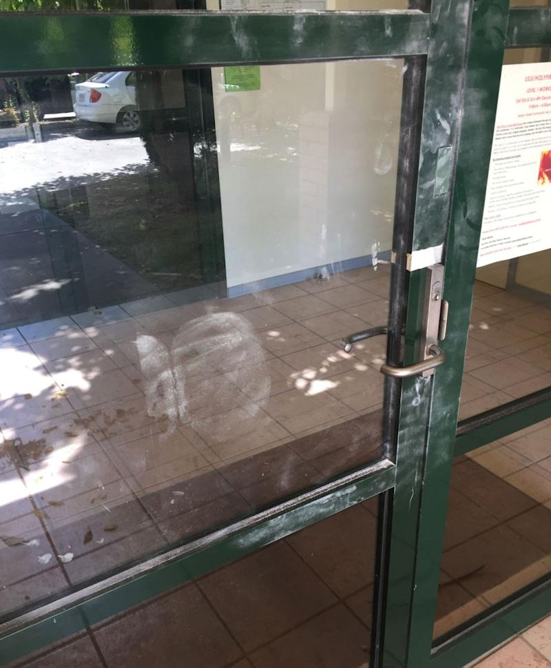 Police in Wodonga found an unusual print on a door following a break-in. Source: Supplied.