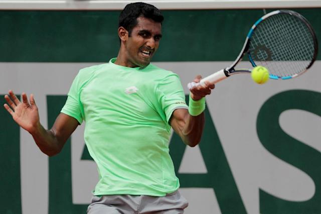 Gunneswaran was making his French Open main-draw debut (AFP Photo/Thomas SAMSON)
