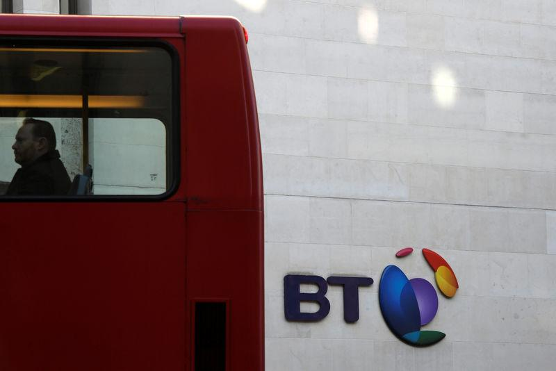 FILE PHOTO: A bus passes a BT logo outside of offices in the City of London