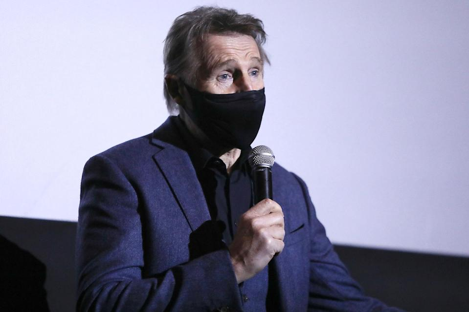 <p>Liam Neeson helped kick off the opening of New York City's theaters after nearly a year of closure due to the COVID-19 pandemic by making an appearance at AMC Lincoln Square to introduce a showing of his new film <em>The Marksman</em>.</p>