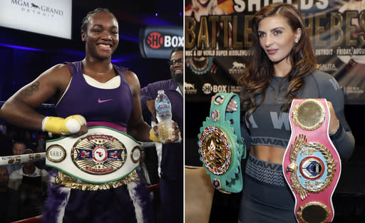 FILE - At left, in a March 11, 2017, file photo, Claressa Shields poses with her North American Boxing Federation middleweight championship belt after she defeated Szilvia Szabados, in Detroit. At right, in an Aug. 3, 2017, file photo, five-time world boxing champion Christina Hammer, of Germany, holds her title belts during a news conference, in Detroit. Shields will face Hammer in a middleweight unification bout Nov. 17 in Atlantic City, New Jersey.(AP Photo/Carlos Osorio, File)