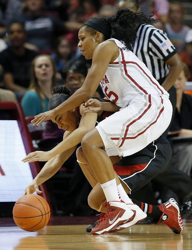 Louisville's Bria Smith, left, and Oklahoma's Gioya Carter go for the ball during the first half of an NCAA college basketball game in Norman, Okla., Sunday, Nov. 17, 2013. (AP Photo/Bryan Terry)