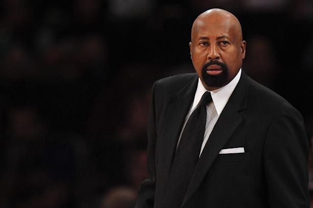 NEW YORK, NY - NOVEMBER 16: New York Knicks head coach Mike Woodson looks on during the first half against the Atlanta Hawks at Madison Square Garden on November 16, 2013 in New York City. The Hawks defeat the Knicks 110-90. (Photo by Maddie Meyer/Getty Images)