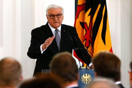 "German President Frank-Walter Steinmeier speaks during the panel discussion ""Bellevue Forum on the Future of Democracy"" at Bellevue Palace in Berlin"