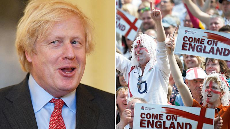 Pictured here, British PM Boris Johnson and England fans at a rugby match.