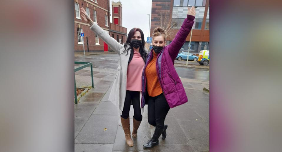 Teah Vincent, left, with a friend celebrating her not guilty verdict in a Facebook photo.