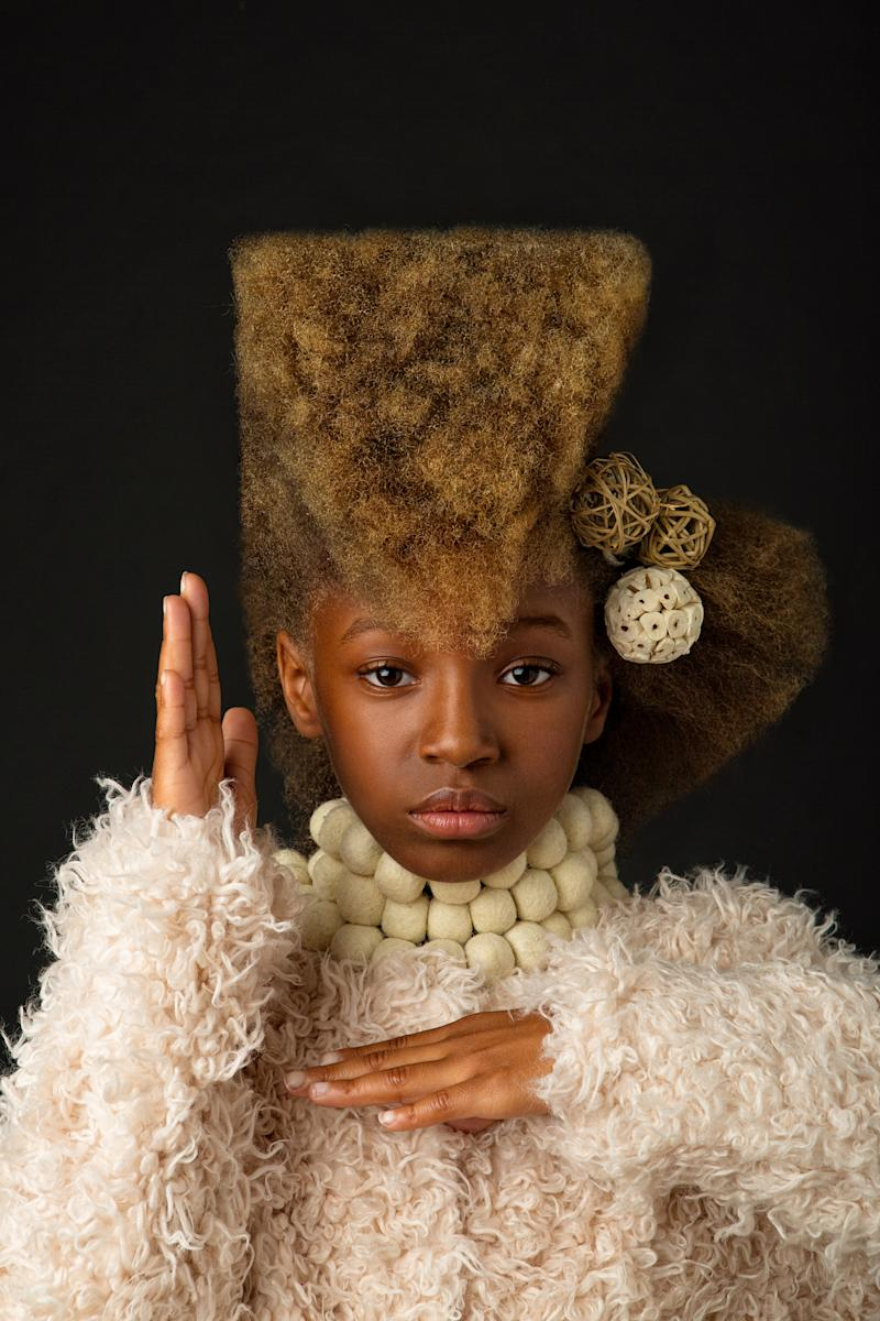 Exaggerate Afro hairdos are highlighted in the AfroArt photo series. (Photos: CreativeSoul Photography; Hairstyling: Lachanda Gatson)