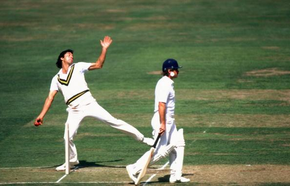Jun 1985:  Pakistan Captain Imran Khan bowls during the Second Test match against England at Lord's in London. Pakistan won the match by ten wickets. \ Mandatory Credit: Adrian  Murrell/Allsport
