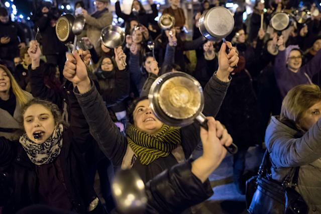 <p>Women making noise with pots and pans call for a women's strike and demand equality as the International Women's Day started in Madrid, Spain, on March 8, 2018. (Photo: Marcos del Mazo/LightRocket via Getty Images) </p>