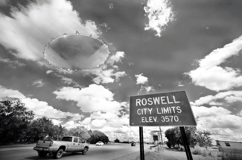 UFO in the town of Roswell,New Mexico in black and white.