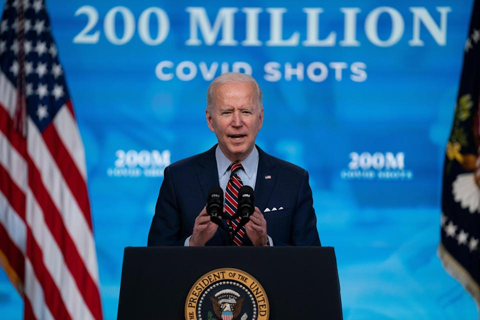 <p>Joe Biden has announced a new goal of vaccinating 70 per cent of adults by Fourth of July</p> (AP)