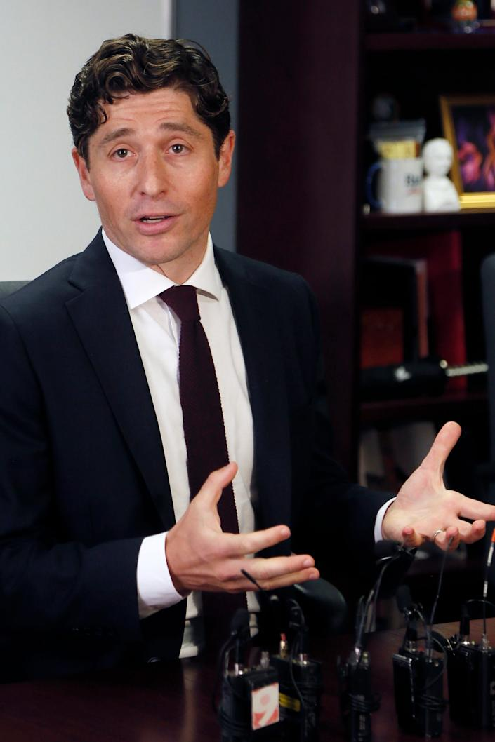In this Aug. 15, 2019 file photo, Minneapolis Mayor Jacob Frey speaks at a news conference in Minneapolis.  (AP Photo/Jim Mone File)