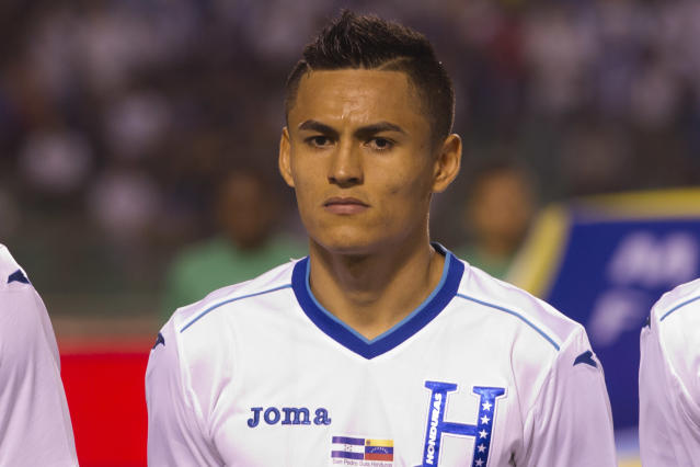 Honduras' Andy Najar prior to a friendly match against Venezuela at Estadio Olimpico in San Pedro Sula, Honduras, Wednesday, March 5, 2014. (AP Photo/Moises Castillo)