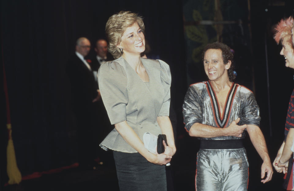 Diana, Princess of Wales  (1961 - 1997) with dancer Wayne Sleep after a performance of 'Song and Dance' at the Bristol Hippodrome, Bristol, England, April 1988.  (Photo by Princess Diana Archive/Getty Images)