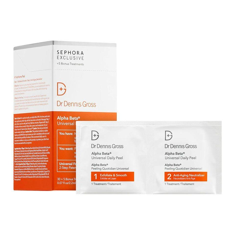 """<p><strong>Dr. Dennis Gross Skincare</strong></p><p>www.sephora.com</p><p><strong>$88.00</strong></p><p><a href=""""https://go.redirectingat.com?id=74968X1596630&url=https%3A%2F%2Fwww.sephora.com%2Fproduct%2Falpha-beta-universal-daily-peel-P377533&sref=https%3A%2F%2Fwww.bestproducts.com%2Fbeauty%2Fg22530244%2Fbenefits-of-glycolic-acid-skincare-products%2F"""" rel=""""nofollow noopener"""" target=""""_blank"""" data-ylk=""""slk:Shop Now"""" class=""""link rapid-noclick-resp"""">Shop Now</a></p><p>We can't get enough of these O.G. peel pads. They're filled with a blend of glycolic, lactic, and salicylic acid to give your skin a packed punch of exfoliation and refinement, sloughing away even the most stubborn dead skin cells and dirt from your pores. They're also gentle enough to use daily.</p>"""