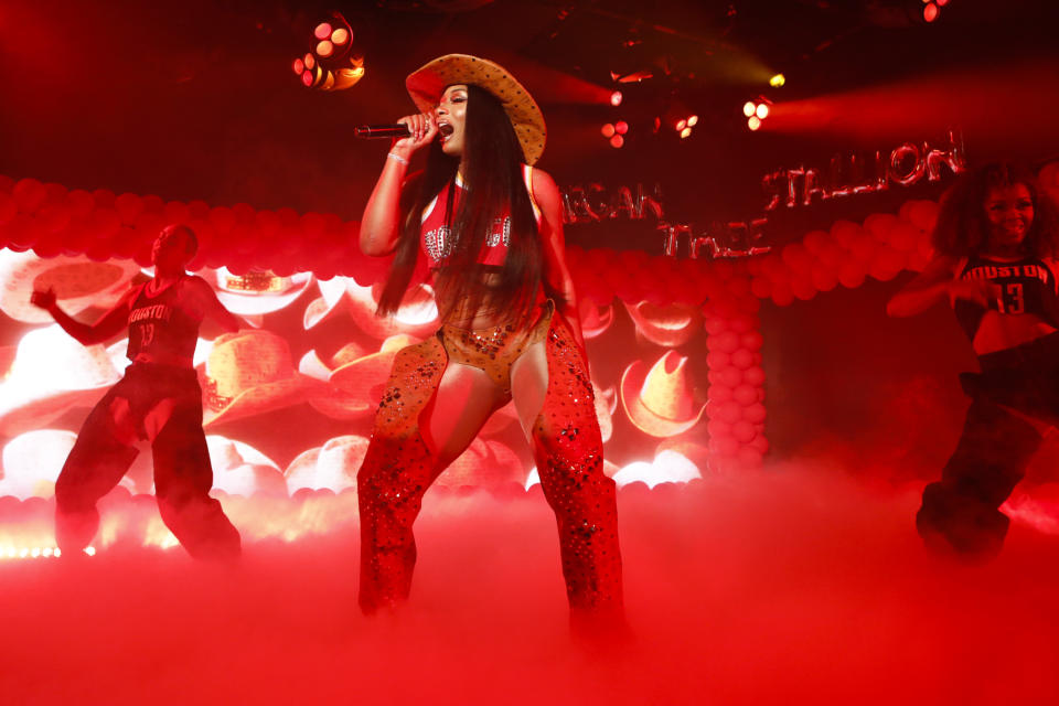 """Megan Thee Stallion performs on """"Jimmy Kimmel Live."""" The Texas-based rapper has been credited with creating the hashtag, and movement, #HotGirlSummer.(Randy Holmes/ABC via Getty Images)"""