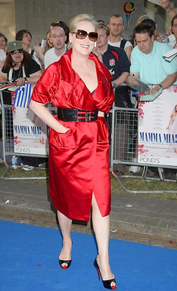 """59-year-old Academy Award darling Meryl Streep made quite the hot mama in a fiery red frock and sizzling heels courtesy of Christian Louboutin at the """"Mamma Mia!"""" premiere in London. Chris Jackson/<a href=""""http://www.gettyimages.com/"""" target=""""new"""">GettyImages.com</a> - June 30, 2008"""
