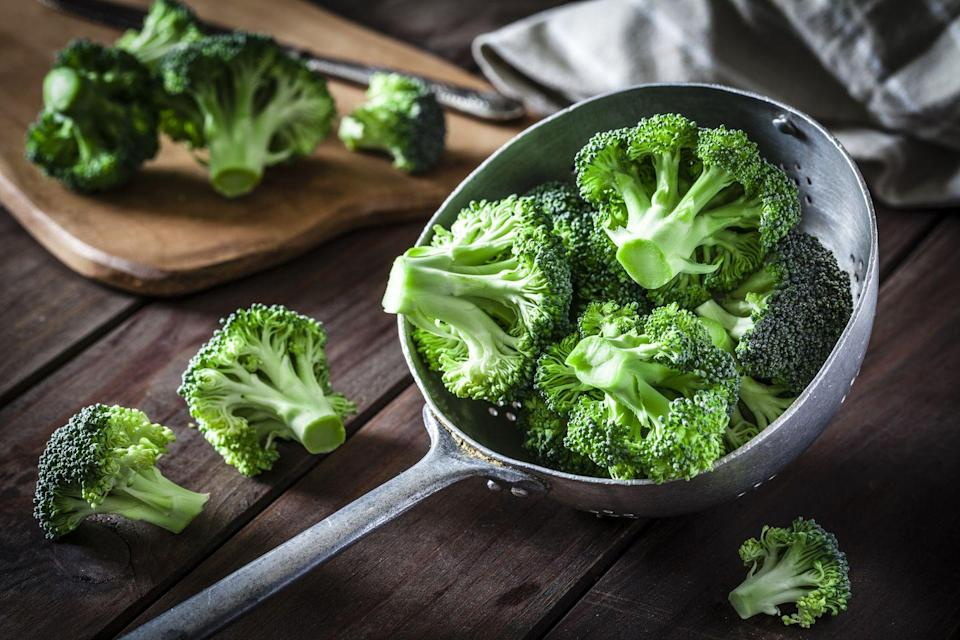 """<p>Broccoli is chock-full of antioxidants, phytonutrients, and vitamins C, B6, and A—all of which Mirkin says can help stave off chronic conditions like cancer, diabetes, heart disease, and <a href=""""https://www.prevention.com/health/a22640271/increase-brain-power-prevent-alzheimers/"""" rel=""""nofollow noopener"""" target=""""_blank"""" data-ylk=""""slk:Alzheimer's"""" class=""""link rapid-noclick-resp"""">Alzheimer's</a> as you age. Plus, you'll get tons of healthy fiber for better digestion. </p><p><strong>Try it: </strong>If you're not too keen on the taste of broccoli, try blending it with stronger flavors, like we did in <a href=""""https://www.prevention.com/food-nutrition/recipes/a20531777/herbed-broccoli-cauliflower-soup/"""" rel=""""nofollow noopener"""" target=""""_blank"""" data-ylk=""""slk:this herbed broccoli cauliflower soup recipe"""" class=""""link rapid-noclick-resp"""">this herbed broccoli cauliflower soup recipe</a>.</p>"""