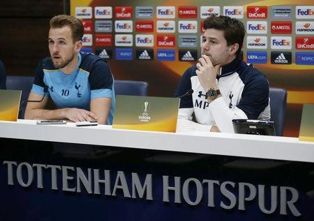 Tottenham manager Mauricio Pochettino and Harry Kane during the press conference