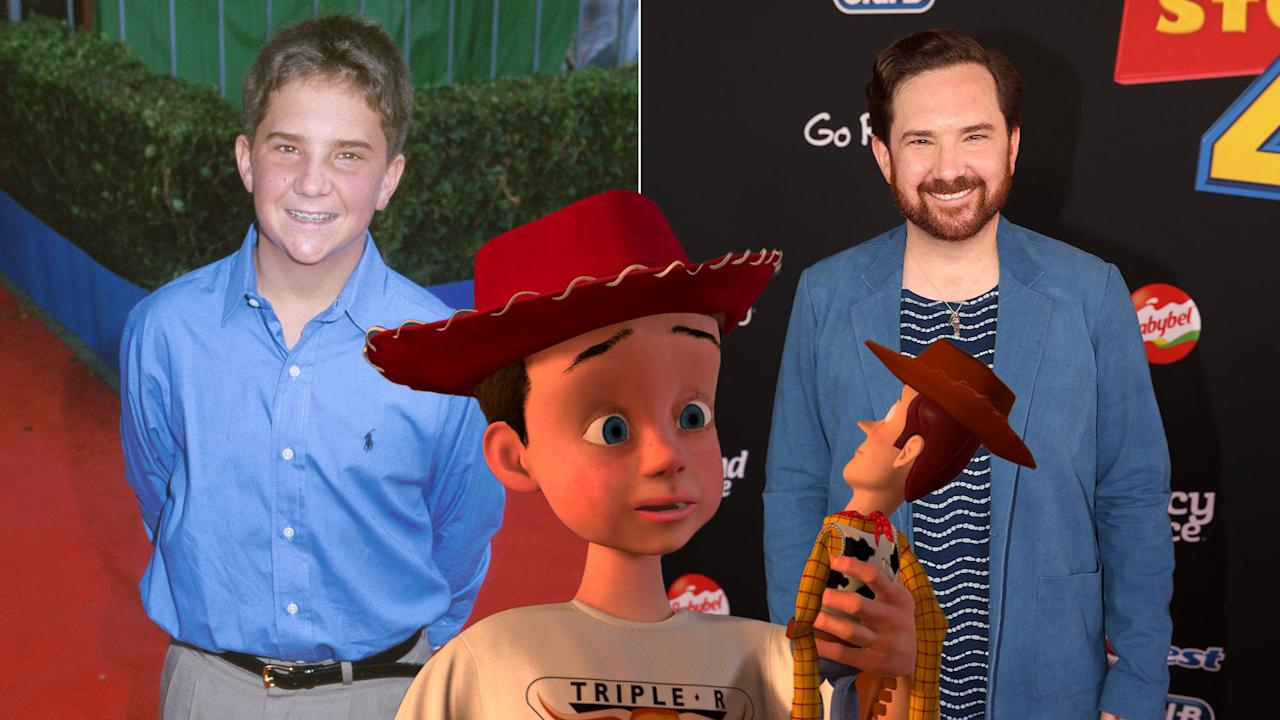 John Morris voiced Andy, the original owner of Woody and Buzz, across the first three movies, growing in age as the character did on screen. He's pictured here on the left at the 1999 premiere of <em>Toy Story 2</em>, and right at the <em>Toy Story 4</em> premiere.