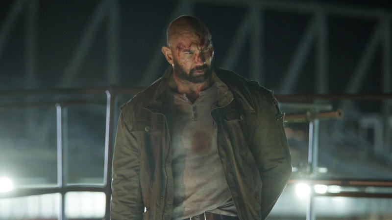 Dave Bautista runs riot in a football stadium in 'Final Score'. (Credit: Sky Cinema)