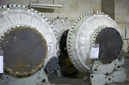 Disused equipment for enriching uranium is shown at the French nuclear Pierrelatte site in southeastern France