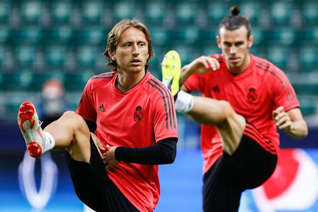 Modric e Bale durante treino do Real Madrid para a temporada 2018/19. Foto: Getty Images