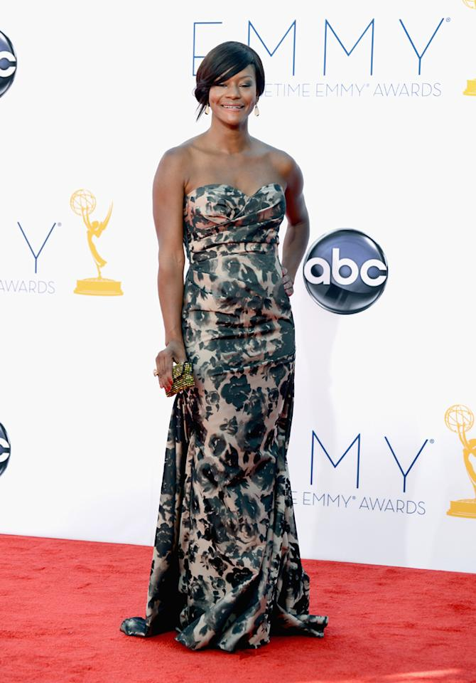 Sufe Bradshaw arrives at the 64th Primetime Emmy Awards at the Nokia Theatre in Los Angeles on September 23, 2012.