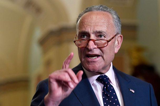 PHOTO: Senate Minority Leader Sen. Chuck Schumer of N.Y., center, speaks to reporters following the weekly policy luncheon on Capitol Hill in Washington, July 9, 2019. (Susan Walsh/AP)