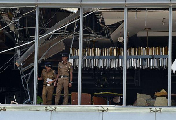 PHOTO: Sri Lankan police stand at the site of an explosion in a restaurant area of the luxury Shangri-La Hotel in Colombo, Sri Lanka, April 21, 2019.  (Ishara S. Kodikara/AFP/Getty Images)