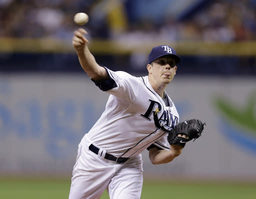 Tampa Bay Rays starting pitcher Jeremy Hellickson delivers to the Boston Red Sox during the first inning of a baseball game on Saturday, July 26, 2014, in St. Petersburg, Fla. (AP Photo/Chris O'Meara)