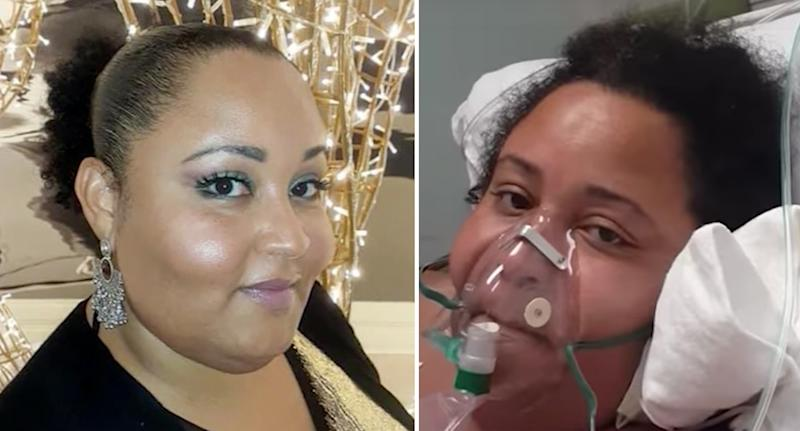 Pictured is Rosa Felipe (left) before she was diagnosed with coronavirus and (right) she is pictured in a hospital bed.