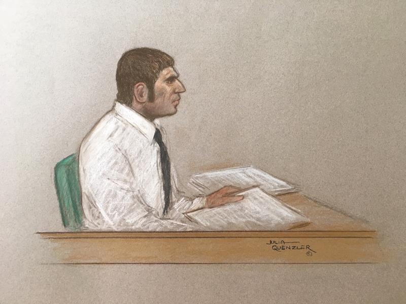 A court sketch of Dean Smith. 45, during his appearance at the Old Bailey. (SWNS)