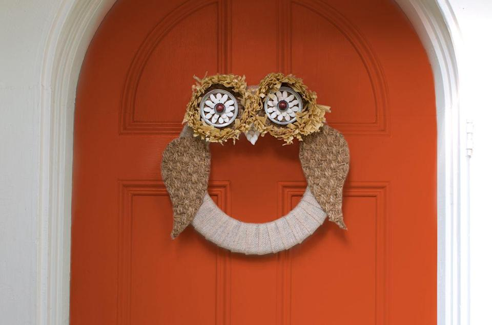 "<p>Update your door in style with a DIY wreath.</p><p><strong><a href=""https://www.countryliving.com/diy-crafts/g1988/fall-craft-projects/?slide=24"" rel=""nofollow noopener"" target=""_blank"" data-ylk=""slk:Get the tutorial"" class=""link rapid-noclick-resp"">Get the tutorial</a>.</strong></p>"