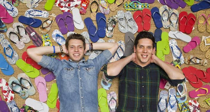Brothers Paul (left) and Rob Forkan set up the Gandys flip-flop label in the summer of 2011 (AFP Photo/Jutin Tallis)