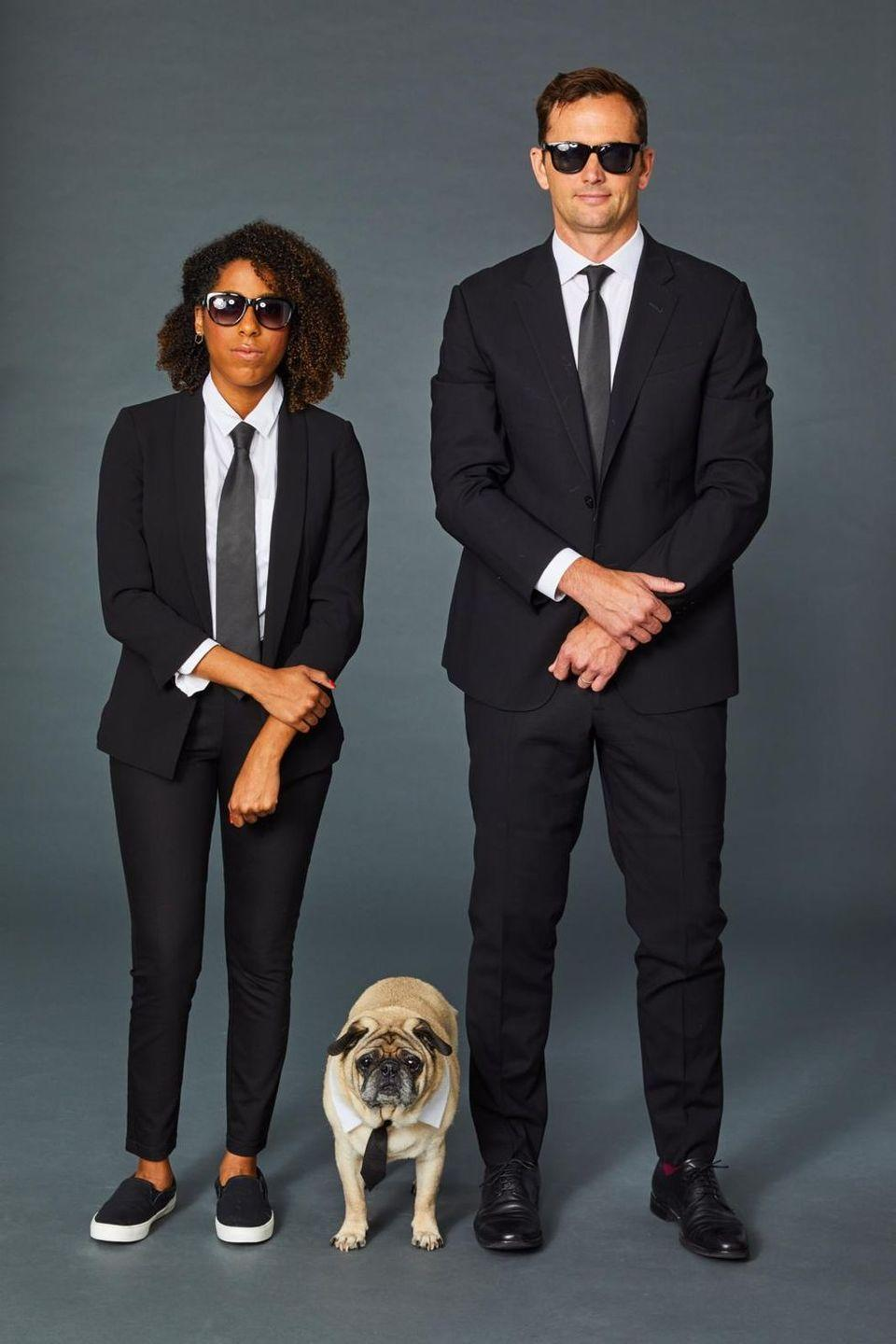 <p>Practice your poker face, pick your partner (in crime), and throw on an all-black ensemble — suits, ties, and sunglasses — to nail this iconic movie look. </p>