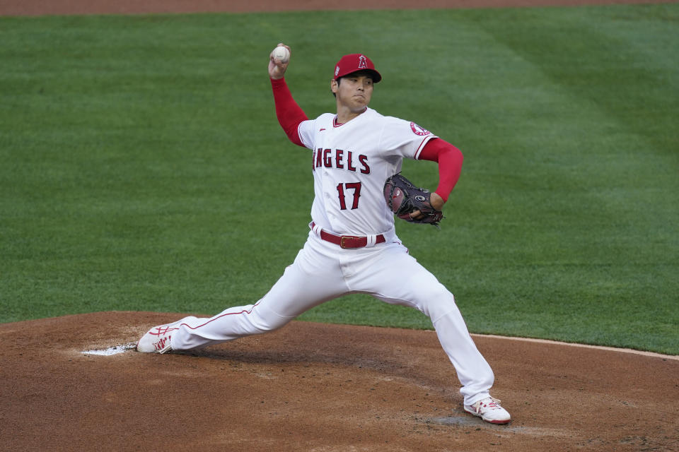 Los Angeles Angels starting pitcher Shohei Ohtani (17) throws during the first inning of a baseball game against the Chicago White Sox Sunday, April 4, 2021, in Anaheim, Calif. (AP Photo/Ashley Landis)