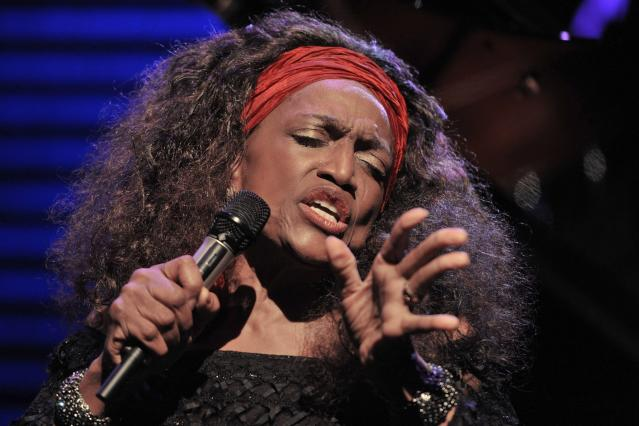 FILE - This July 4, 2010 file photo shows American opera singer Jessye Norman performing on the Stravinski Hall stage at the 44th Montreux Jazz Festival, in Montreux, Switzerland. Norman died, Monday, Sept. 30, 2019, at Mount Sinai St. Luke's Hospital in New York. She was 74. (AP Photo/Keystone/Dominic Favre, File)