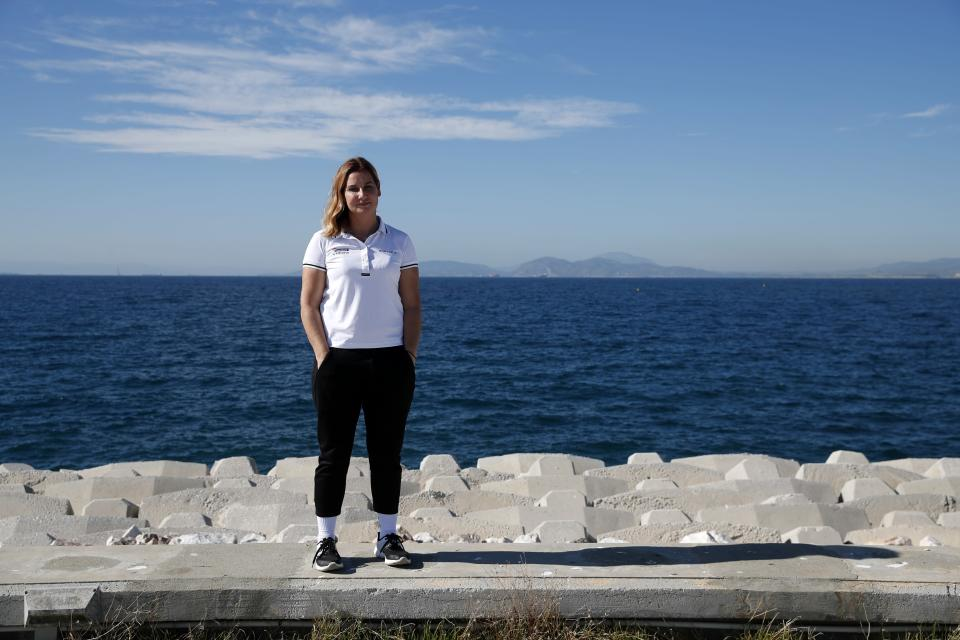 Greek Olympic sailing champion Sofia Bekatorou poses for a photograph during an interview for the Associated Press, at Agios Kosmas marina in southern Athens, Thursday, Feb. 4, 2021. Bekatorou is the most successful female athlete in Greek sporting history who recently revealed that she was the victim of a sexual assault, allegedly by a senior sports official in 1998. In an interview with The Associated Press, Bekatorou said she was glad those revelations are having an impact in a country long accustomed to cronyism and senior-level impunity. (AP Photo/Thanassis Stavrakis)