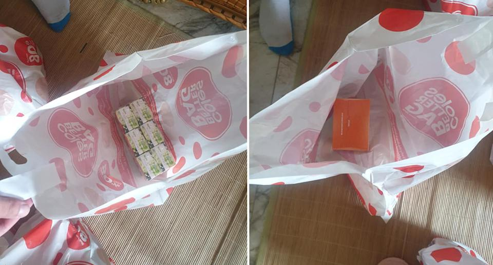 The customer's items in individual bags.