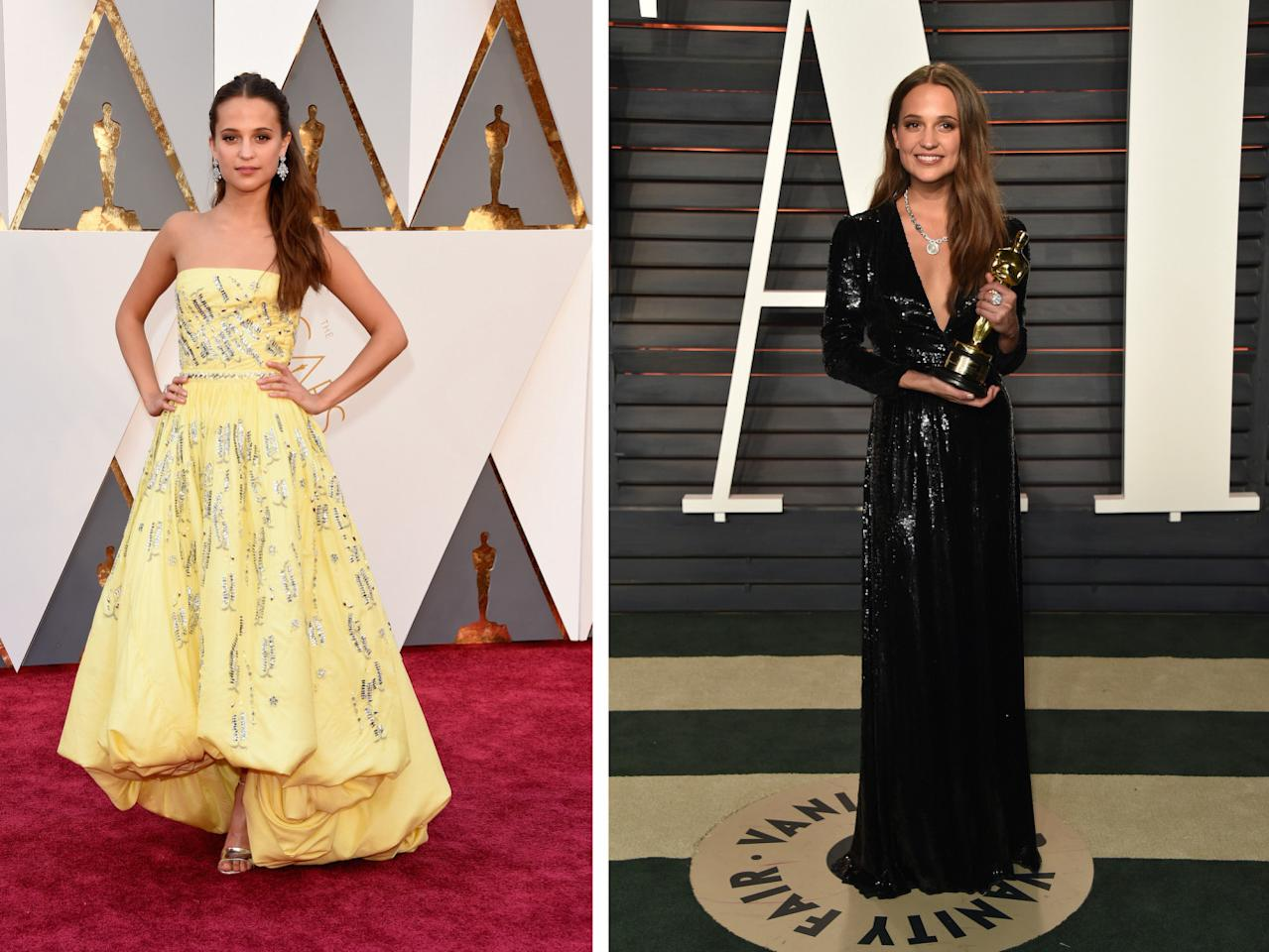 <p>The star of<i> The Danish Girl</i> star just wanted to dance with her golden statuette! To make that happen, she had to switch out her Louis Vuitton dress for a long-sleeved sequined number more fit for moving. She also let her hair down and put on a major diamond necklace.<i>(Photos: Getty Images)</i></p>