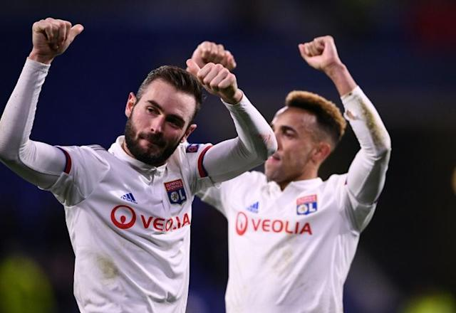 Lucas Tousart (L) scored the only goal as Lyon beat Juventus in the first leg of their Champions League last-16 tie on Wednesday (AFP Photo/FRANCK FIFE)