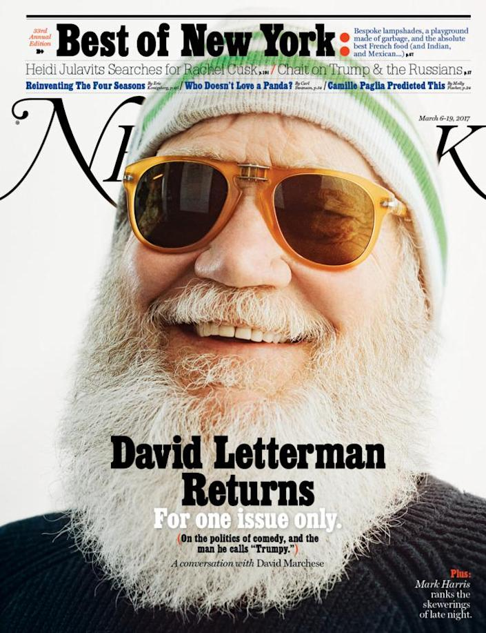 Letterman is on the cover of this week's New York magazine (NYMag)