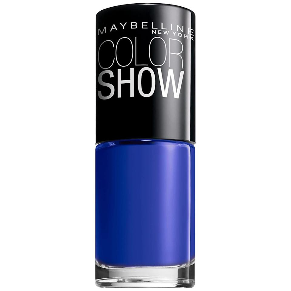 """<p><strong>Maybelline New York</strong></p><p>amazon.com</p><p><strong>$4.99</strong></p><p><a href=""""https://www.amazon.com/dp/B008C1NCZO?tag=syn-yahoo-20&ascsubtag=%5Bartid%7C10065.g.25243032%5Bsrc%7Cyahoo-us"""" rel=""""nofollow noopener"""" target=""""_blank"""" data-ylk=""""slk:Shop Now"""" class=""""link rapid-noclick-resp"""">Shop Now</a></p><p>You can really rock royal blue nails <em>any </em>time of the year, but they're extra cheerful when it's dark AF out.</p>"""