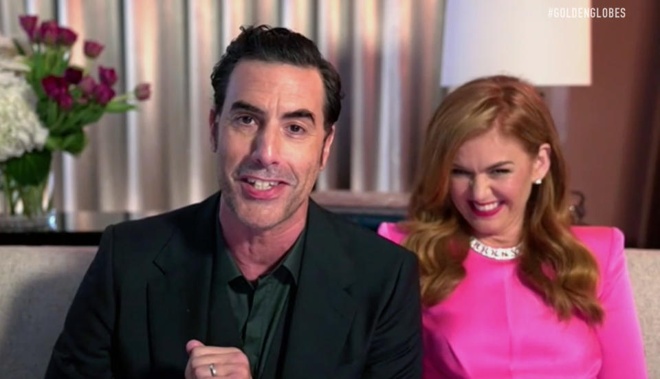 Sacha Baron Cohen and Isla Fisher speak the 78th Annual Golden Globe Awards on February 28, 2021. (Photo by NBC/NBCU Photo Bank via Getty Images)