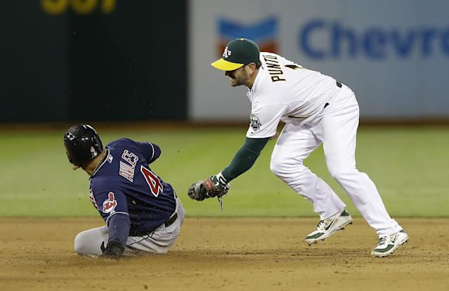 Cleveland Indians' Mike Aviles (4) slides into second base under the tag of Oakland Athletics second baseman Nick Punto during the sixth inning of an MLB American League baseball game in Oakland, Calif., Wednesday, April 2, 2014. Aviles was initially called out at second base but was ruled safe after manager Terry Francona challenged the ruling and umpires reversed the call. (AP Photo/Jeff Chiu)