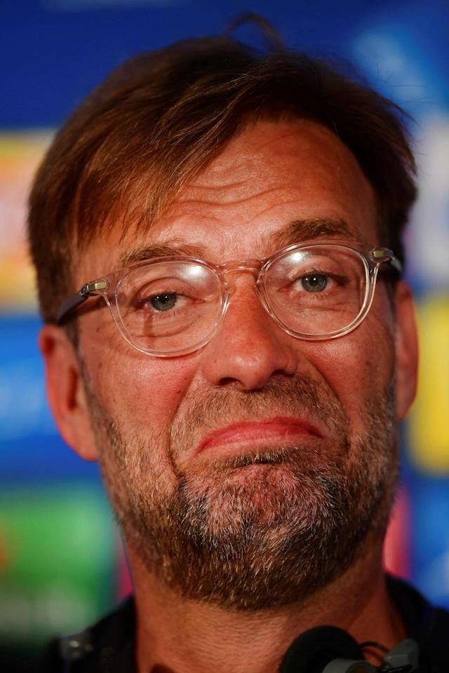 Soccer Football - Champions League Final - Liverpool Press Conference, NSC Olympic Stadium, Kiev, Ukraine - May 25, 2018 Liverpool manager Juergen Klopp during the press conference UEFA/Pool via REUTERS *** Local Caption *** Jurgen Klopp