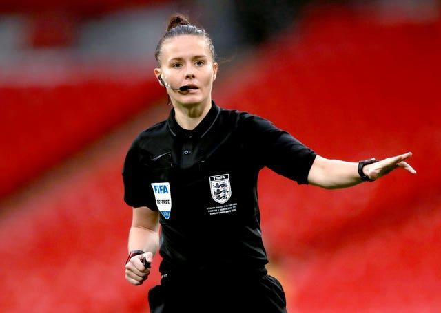 Referee Rebecca Welch the Women's FA Cup Final at Wembley Stadium