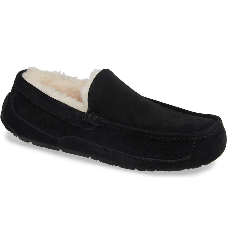 <p>Trade in his old slippers for these luxurious <span>UGG Ascot Slippers</span> ($110).</p>